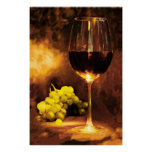Glass of Wine & Green Grapes in Candlelight Poster