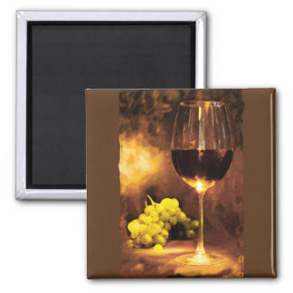 Glass of Wine & Green Grapes in Candlelight Square Magnet