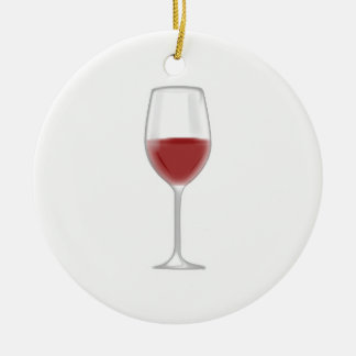 Glass of Wine Round Ceramic Decoration