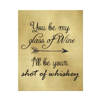 Glass of Wine Shot of Whiskey Stretched Canvas Print