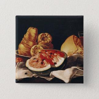 Glass of Wine, Watermelon and Bread 15 Cm Square Badge