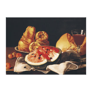 Glass of Wine, Watermelon and Bread Stretched Canvas Prints