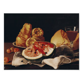 Glass of Wine, Watermelon and Bread Poster