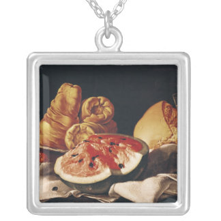 Glass of Wine, Watermelon and Bread Silver Plated Necklace