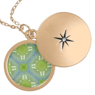 glass pattern green blue personalized necklace