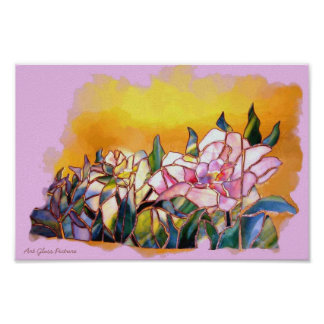 Glass Peony and Bud Lovely Nature Wall Art Poster
