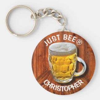 Glass Pint Beer Mug With White Head With Your Text Basic Round Button Key Ring