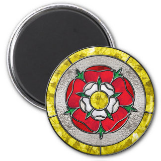 Glass Rose 6 Cm Round Magnet