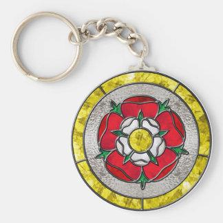 Glass Rose Basic Round Button Key Ring