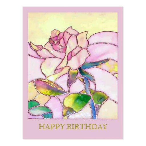 Glass Rose Elegant Happy Birthday Postcard | Zazzle: www.zazzle.co.uk/glass_rose_elegant_happy_birthday_postcard...