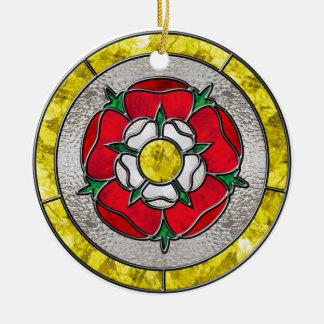 Glass Rose Round Ceramic Decoration