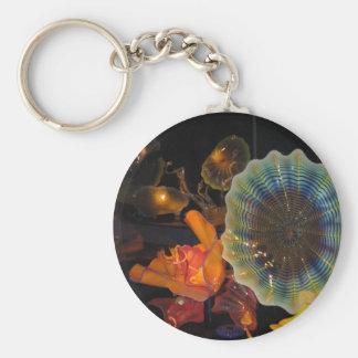 Glass Sculpture Basic Round Button Key Ring
