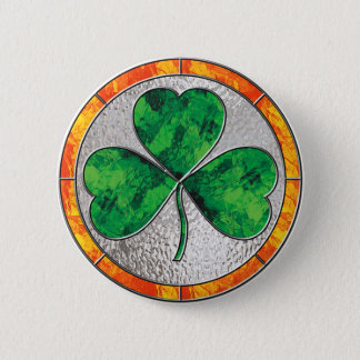 Glass Shamrock 6 Cm Round Badge
