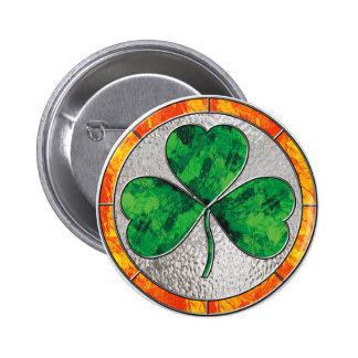 Glass Shamrock 6 Cm Round Badge