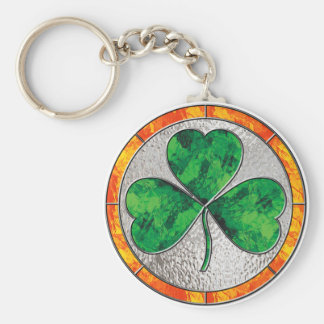 Glass Shamrock Basic Round Button Key Ring