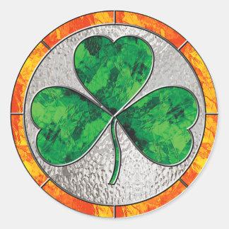 Glass Shamrock Round Sticker