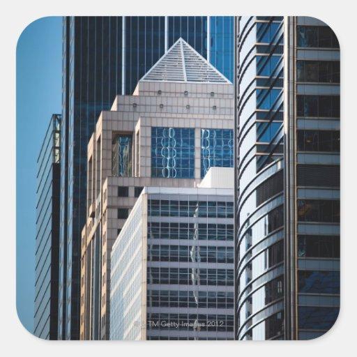 Glass skyscrapers line Chicago's financial Sticker
