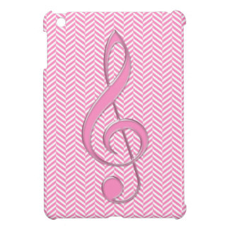 Glass Style Treble Clef Pink Chevron Cover For The iPad Mini