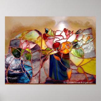Glass Table Flower Arrangement Fine Art Photograph Poster
