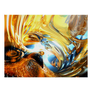 Glass Tidal Wave Abstract Poster