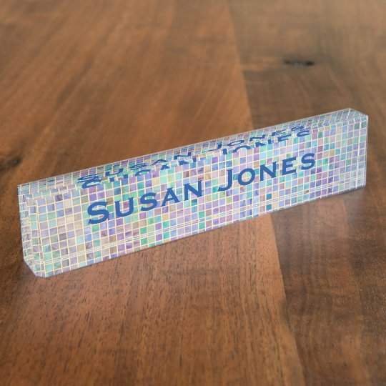 Glass Tile Mosaic cool modern colourful name Nameplate