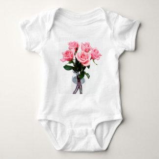 Glass Vase Of Pink Roses Baby Bodysuit