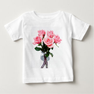 Glass Vase Of Pink Roses Baby T-Shirt