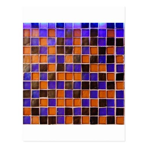 Glass Wall Orange Blue Backsplash Funny Color Post Cards