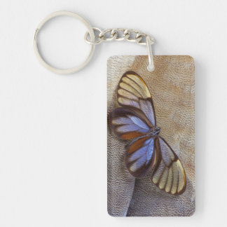Glass-wing Butterfly Egyptian Goose Feather Key Ring