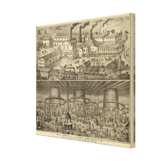 Glass works of JH Hobbs and Brockunier Canvas Print