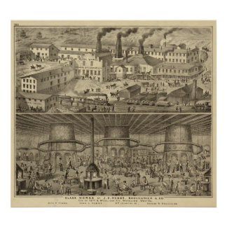 Glass works of JH Hobbs and Brockunier Posters