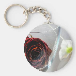 Glassed Flower II Basic Round Button Key Ring