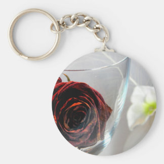 Glassed Flower II Basic Round Button Key Ring