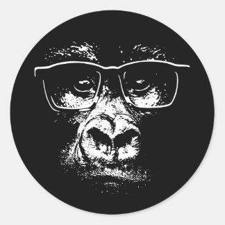 Glasses Gorilla Classic Round Sticker