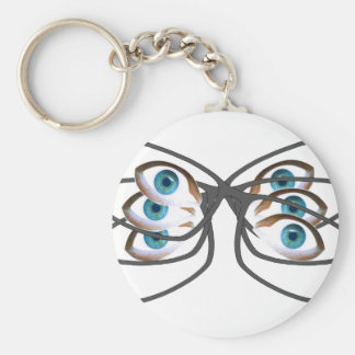 Glasses Image Basic Round Button Key Ring