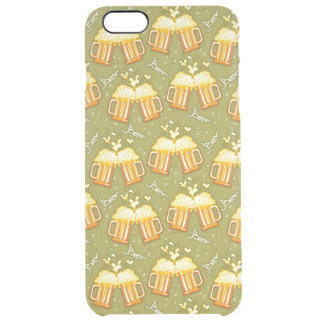 Glasses Of Beer Pattern Clear iPhone 6 Plus Case