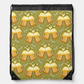 Glasses Of Beer Pattern Drawstring Bag