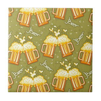 Glasses Of Beer Pattern Small Square Tile