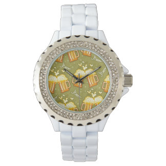 Glasses Of Beer Pattern Wrist Watches