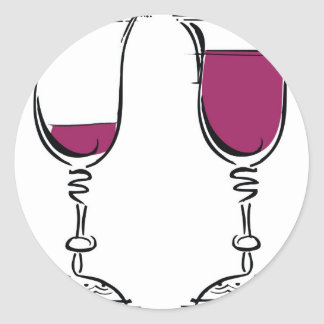 Glasses of red wine illustration. round stickers