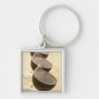 Glasses of red wine Silver-Colored square key ring