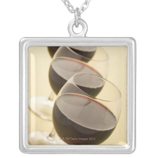 Glasses of red wine silver plated necklace