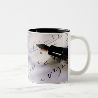 Glasses, pen and mathematical symbols on paper, Two-Tone coffee mug