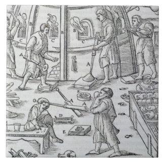 Glassworks, illustration showing the marble furnac tile