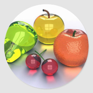 glassy fruits round sticker