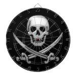 Glassy Pirate Skull & Sword Crossbones