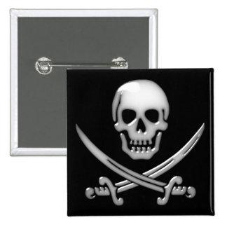 Glassy Pirate Skull & Sword Crossbones 15 Cm Square Badge