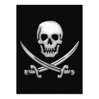 Glassy Pirate Skull & Sword Crossbones 17 Cm X 22 Cm Invitation Card