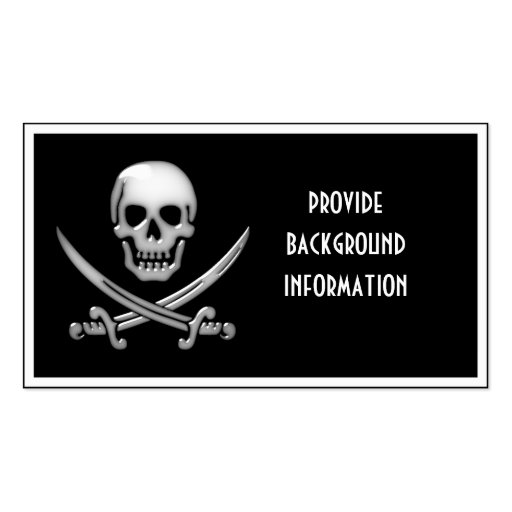 Glassy Pirate Skull & Sword Crossbones Business Card Templates