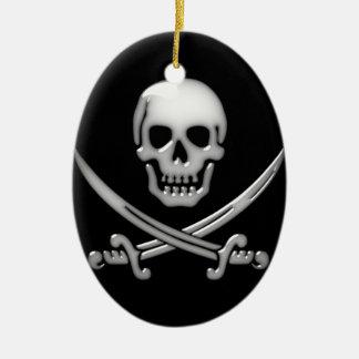 Glassy Pirate Skull & Sword Crossbones Ceramic Oval Decoration